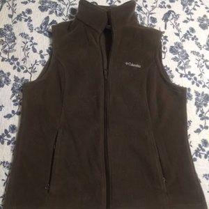 Columbia Women's brown fleece vest, size Large EUC
